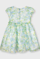 Mayoral Dress Chiffon Ltblue Lime Floral Print Smocked