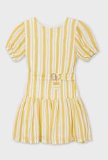Mayoral Dress Yellow Stripe Drop Waist with Belt