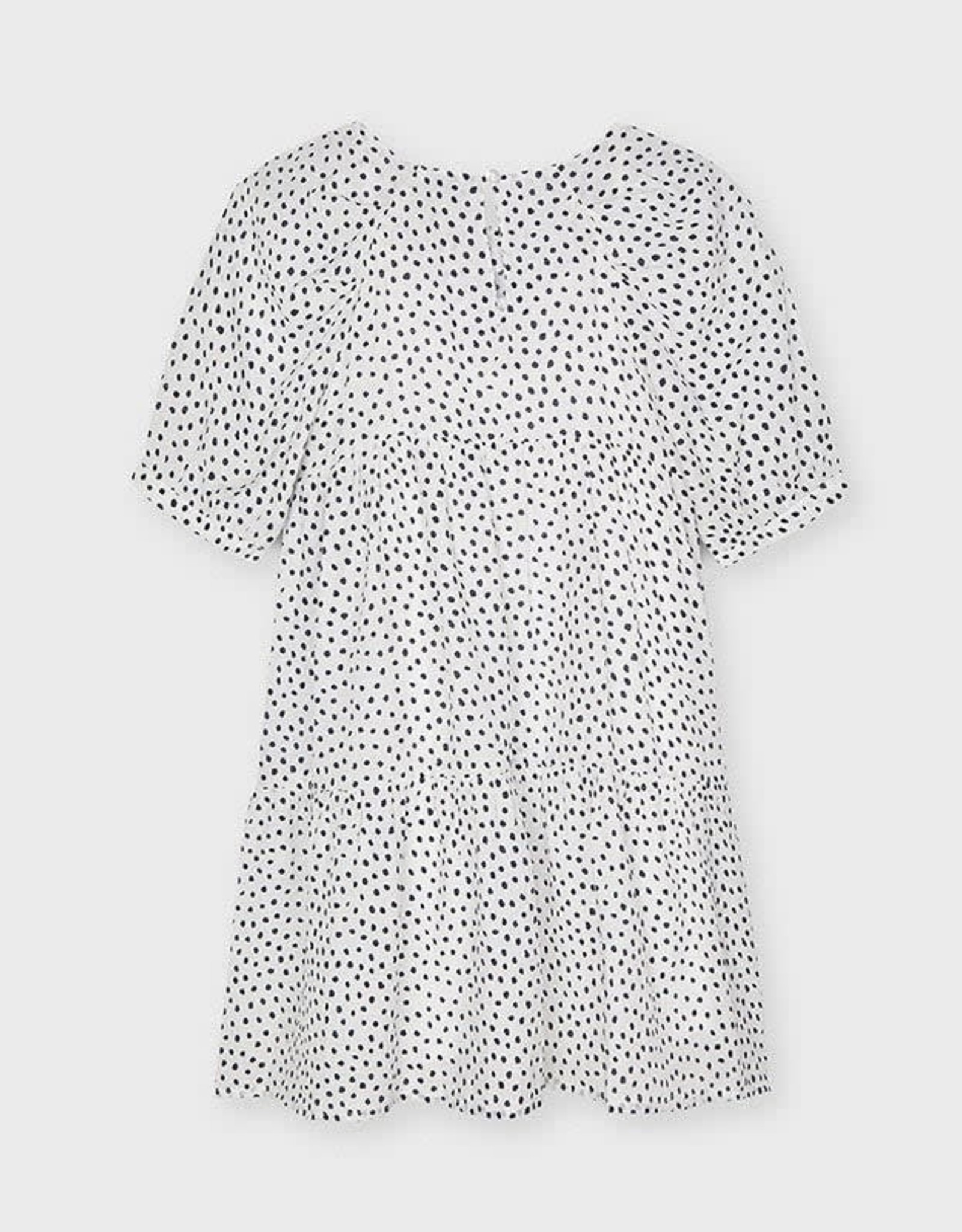 Mayoral White with Black Dot Tiered Dress