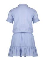 NONO Dress LtBlue Jacquard Multi Piped Placket and Belt 5804