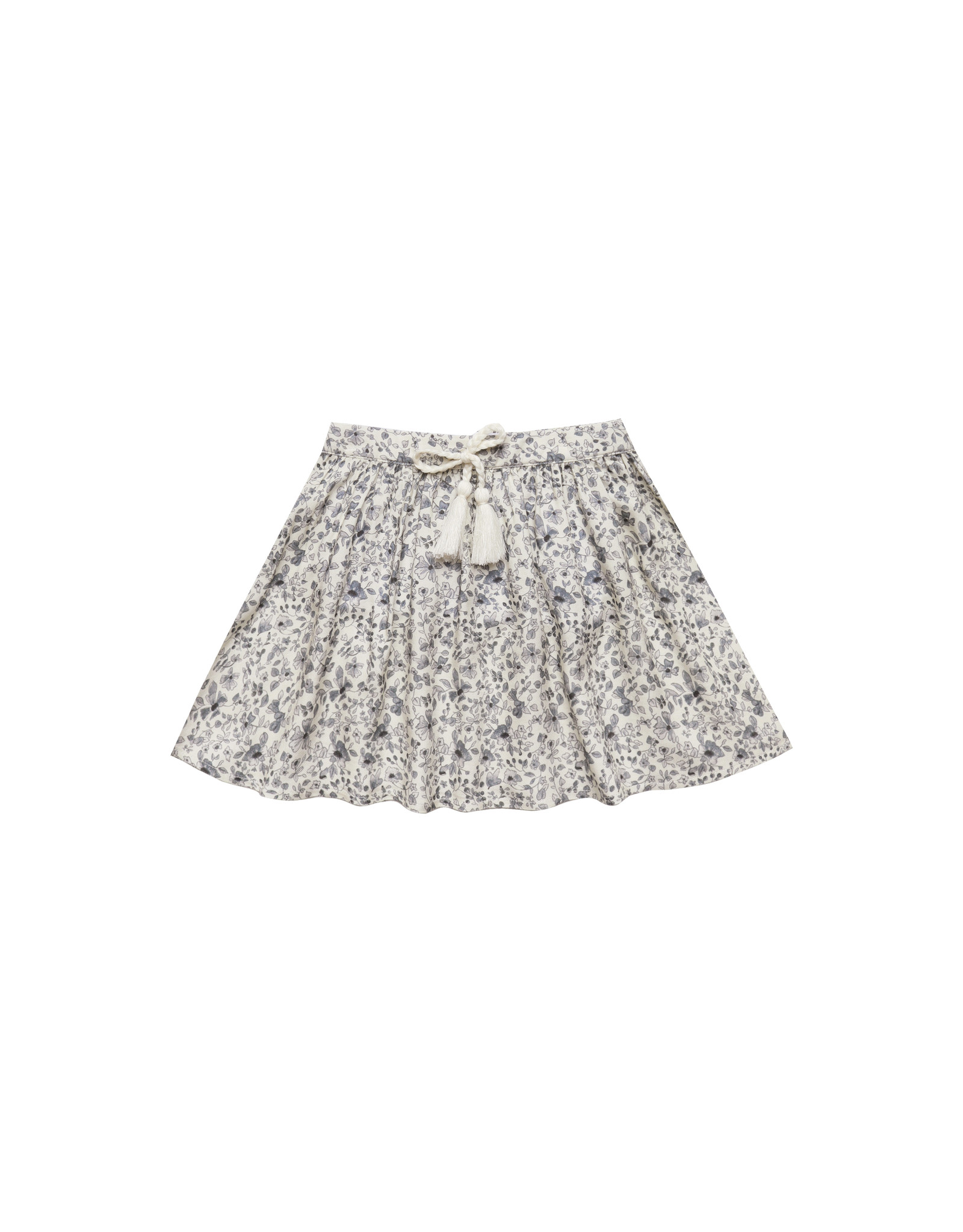 Rylee + Cru Blue Floral Drawstring Skirt