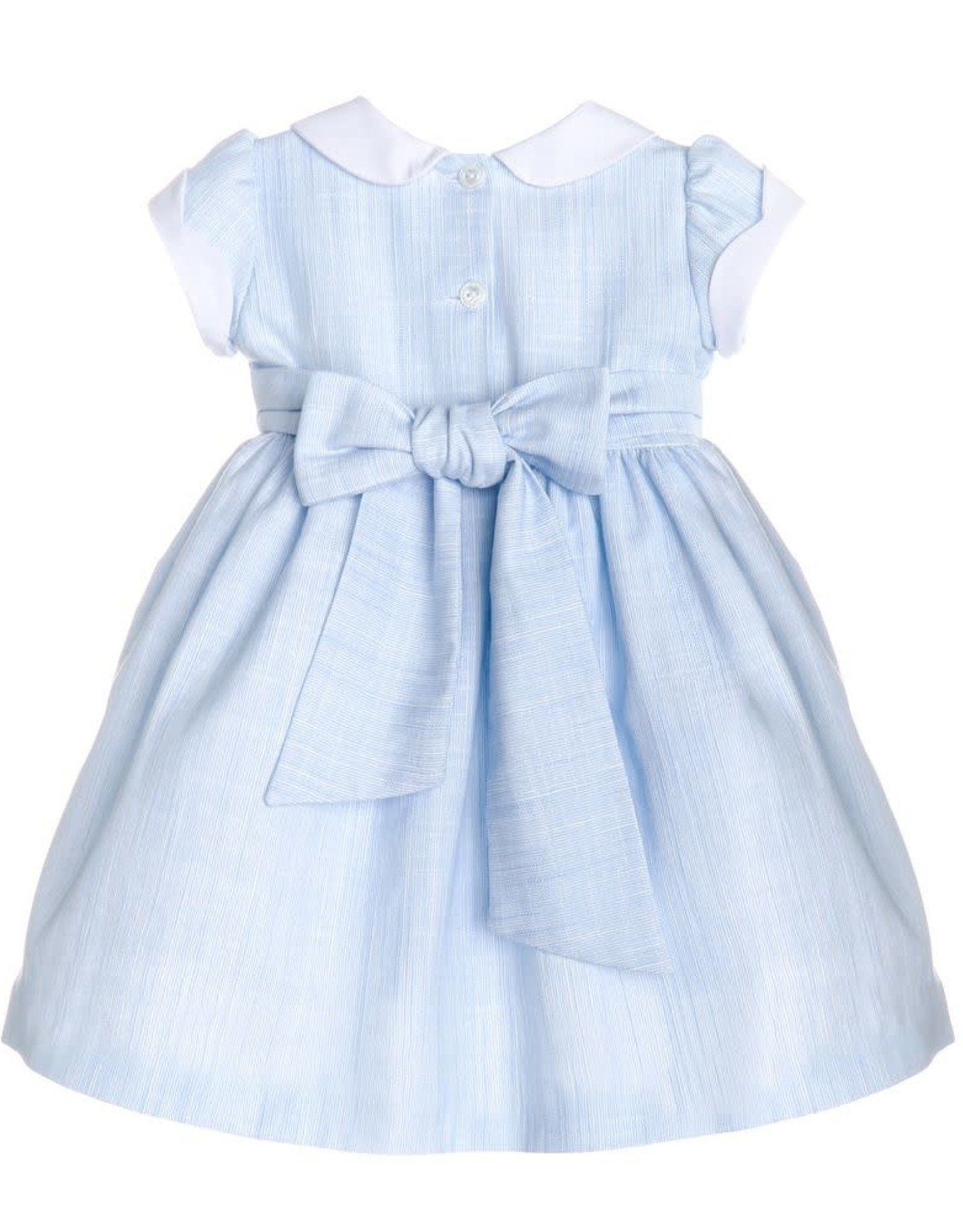 Sophie and Lucas Infant Dress Ltblue white collar and scallops