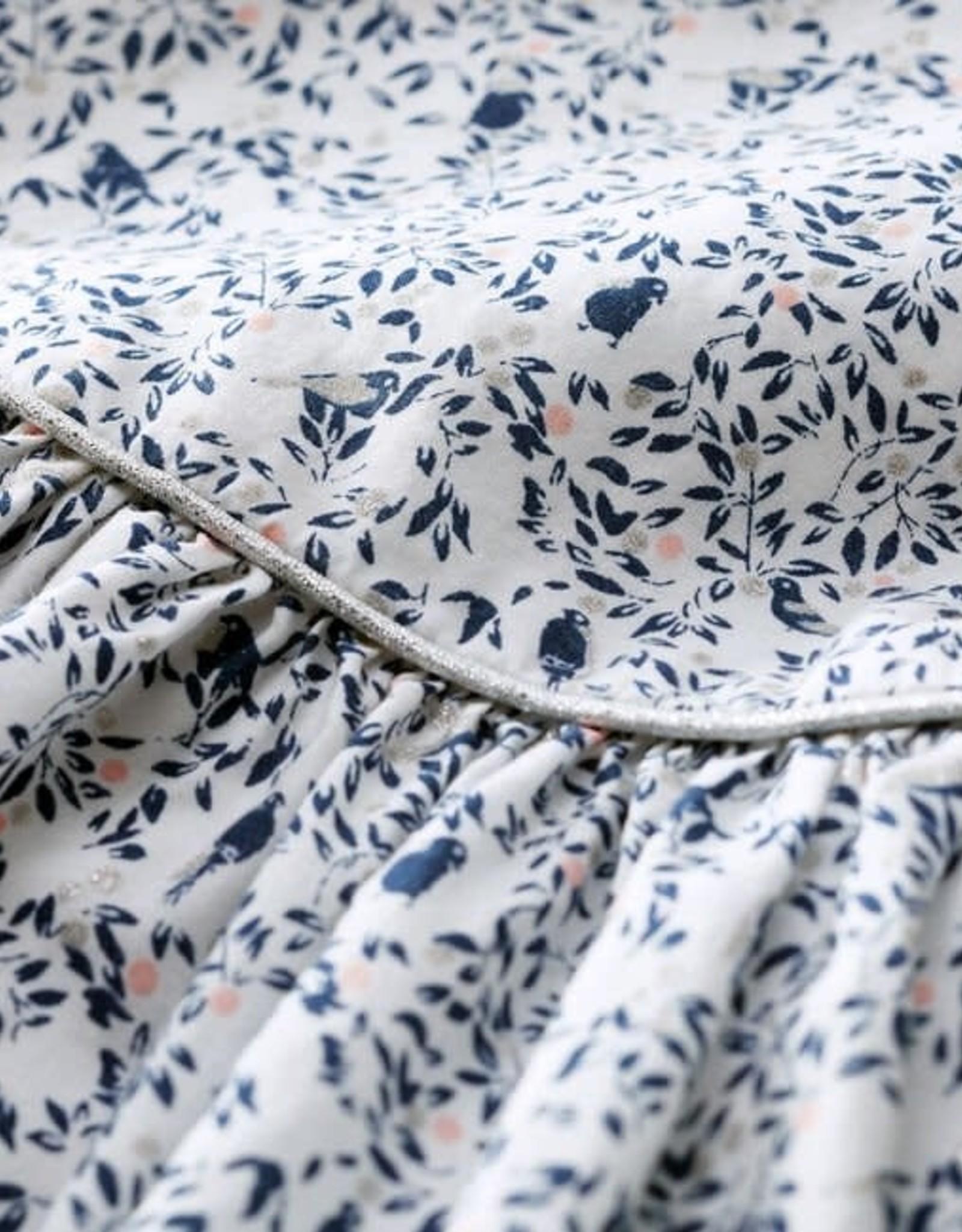 Petit Bateau Dress Navy Woven Bird Floral Print