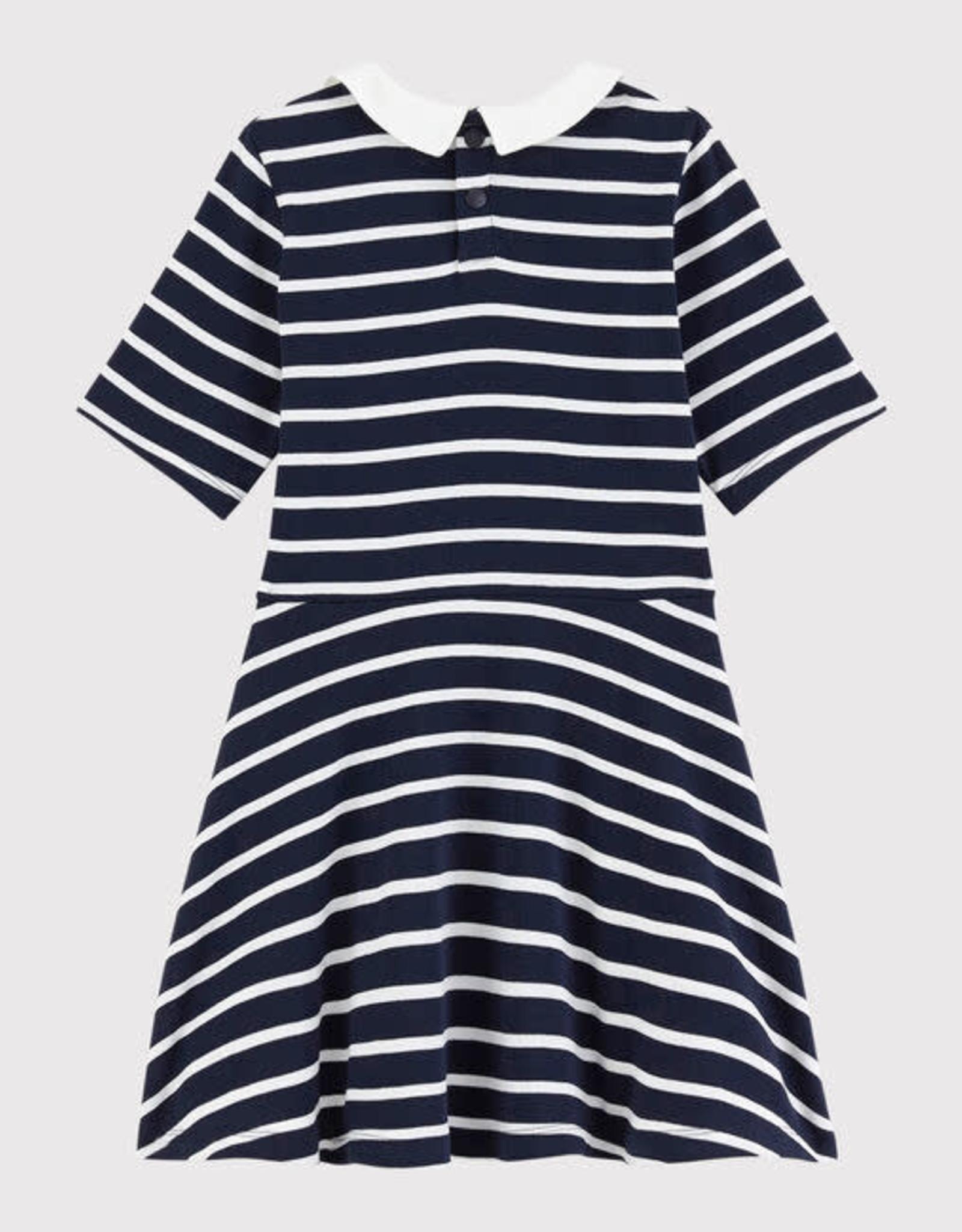 Petit Bateau Dress Navy Stripe Knit with Round Collar