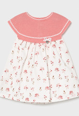 Mayoral Dress Coral Knit with Floral Print