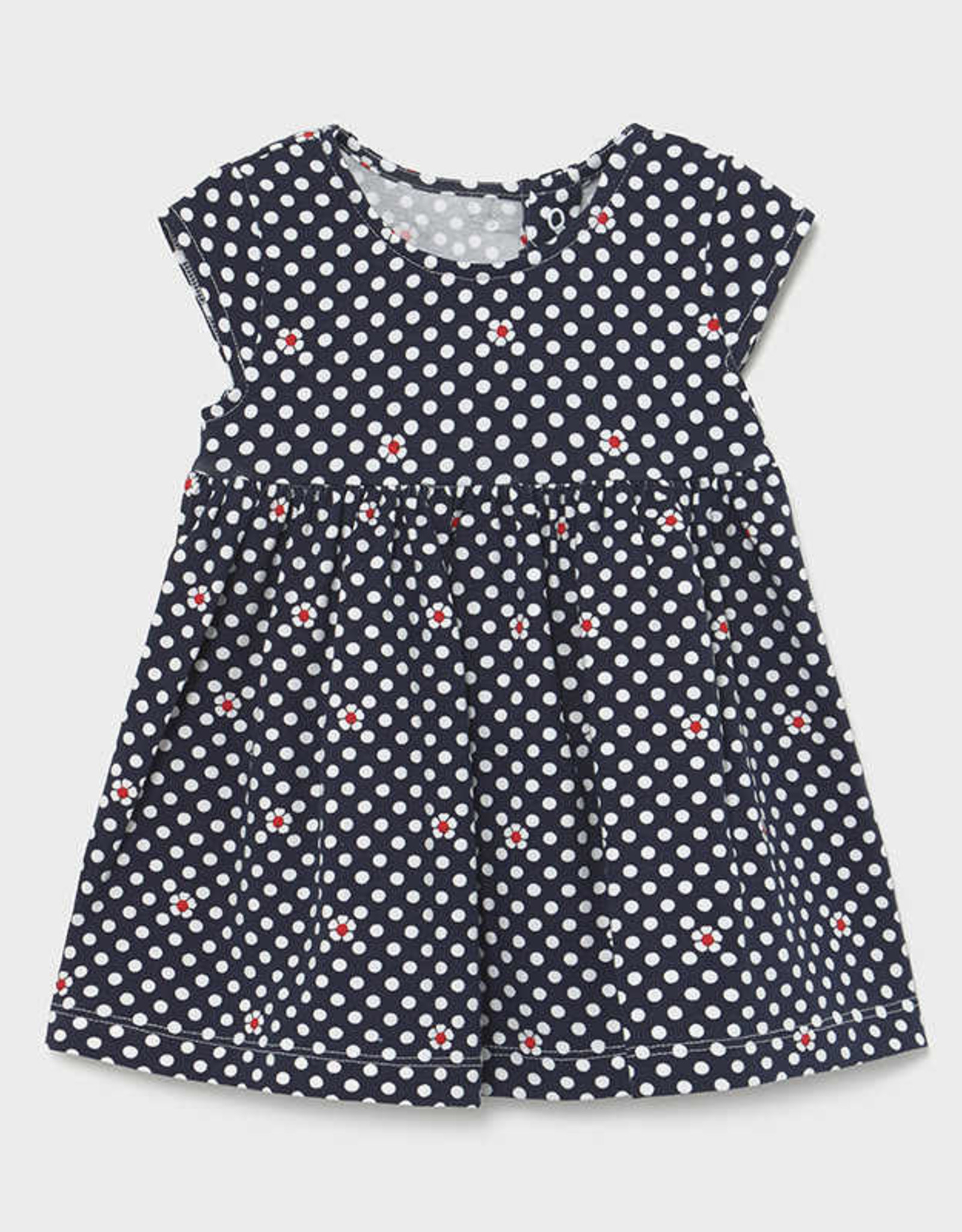 Mayoral Infant Girls Navy Dots and Daisies Knit Dress
