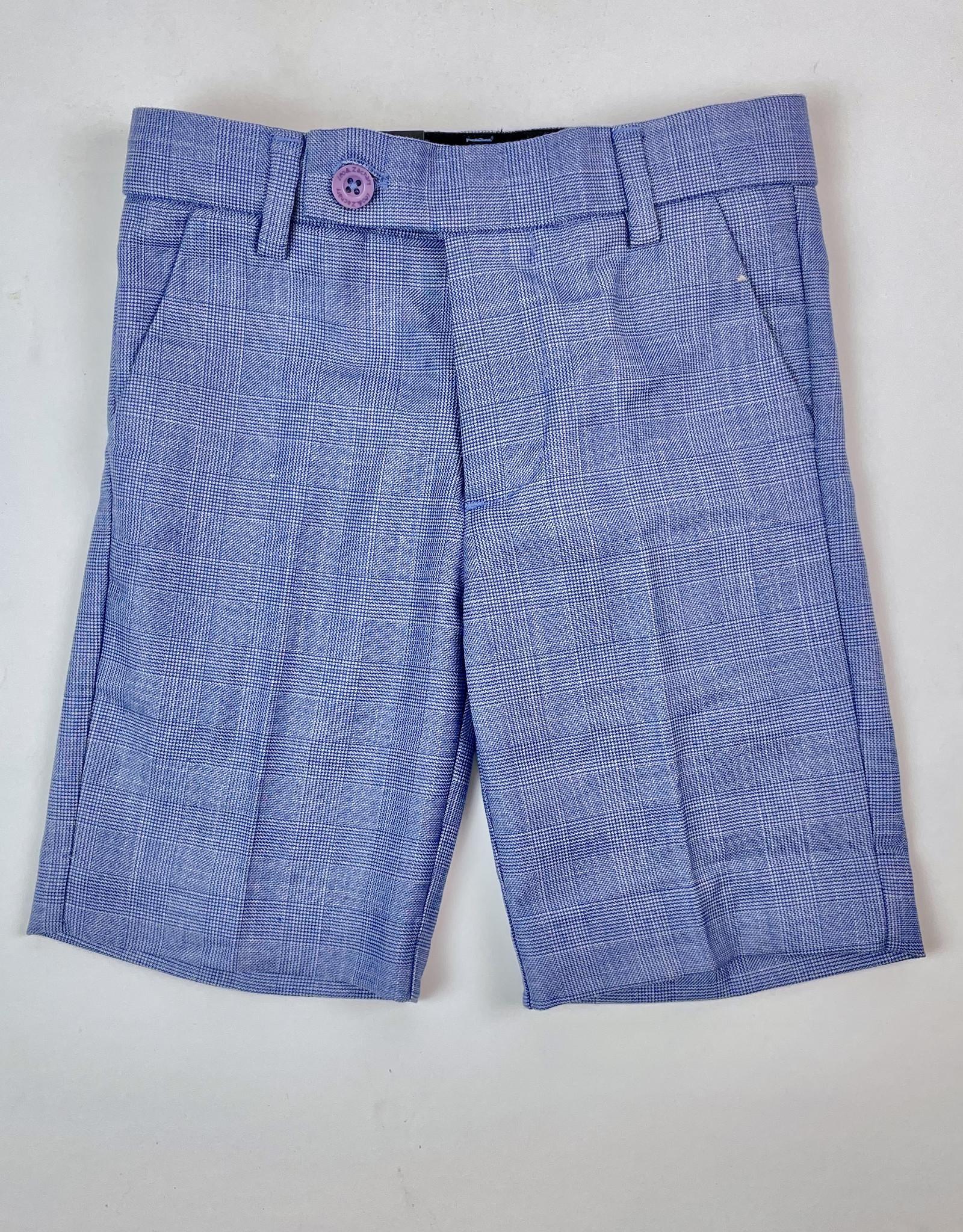 Leo and Zachary Shorts Blue Linen Glenn Plaid