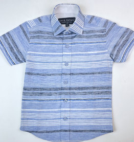 Leo and Zachary Shirt S/S Chambray Stripe