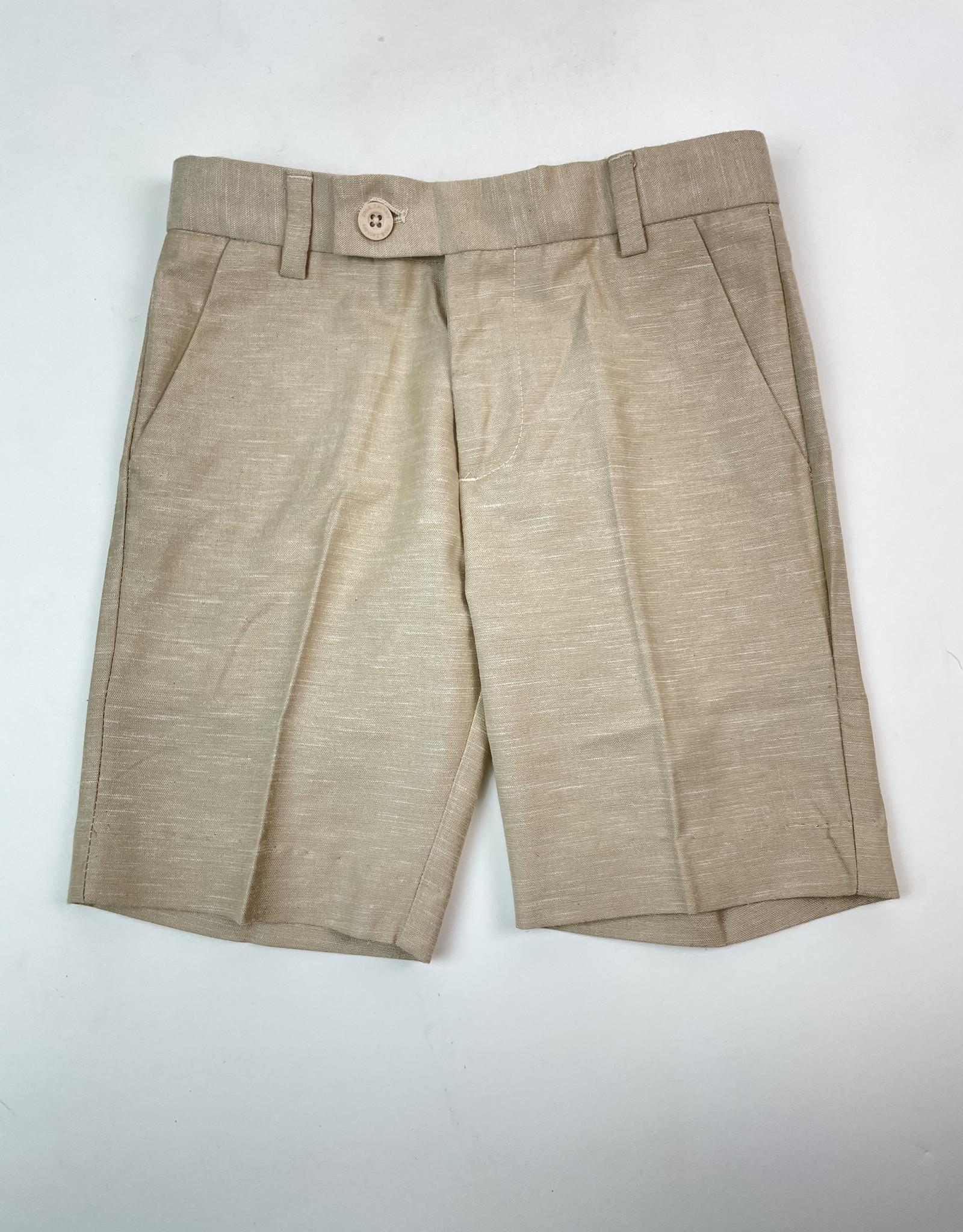 Leo and Zachary Shorts Tan linen