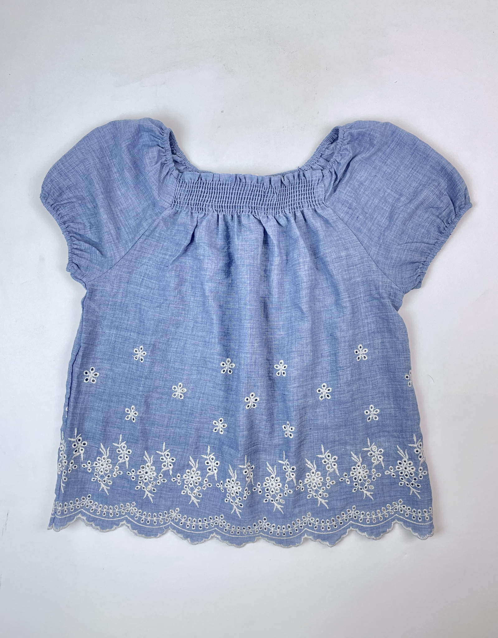 Chambray Peasant Blouse Embroidered