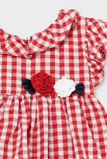 Mayoral Dress Red Gingham Flower Waist