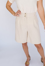 Somerstown Ivory Pleated Cuffed Bemuda Short