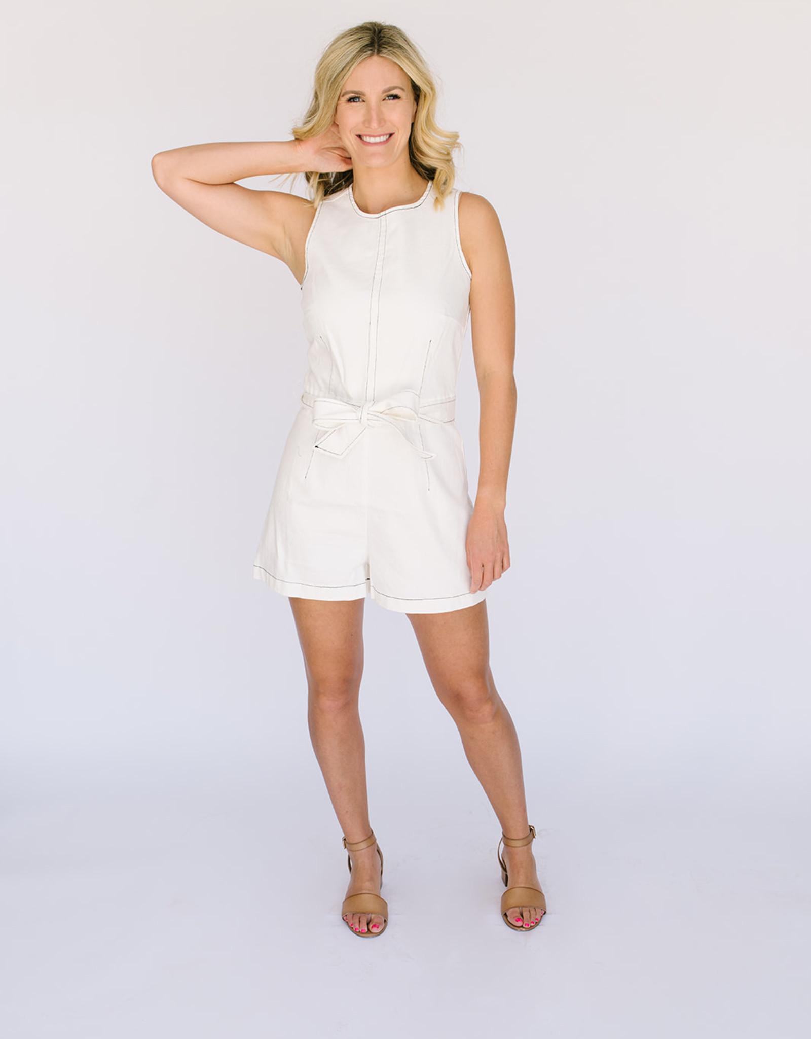 Abbey White Twill Short Romper