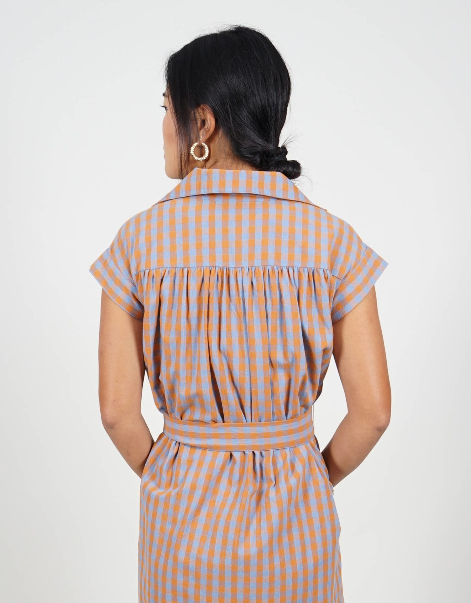 Holland Gold Blue Check collared Dress Belt