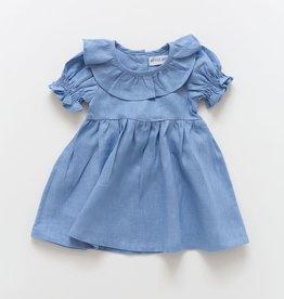 Petite Moss Peri linen Polly dress with ruffle collar
