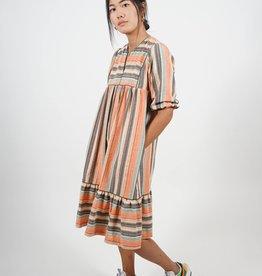 Monaco Multi Stripe Shift Dress with Yoke and Puff Sleeve