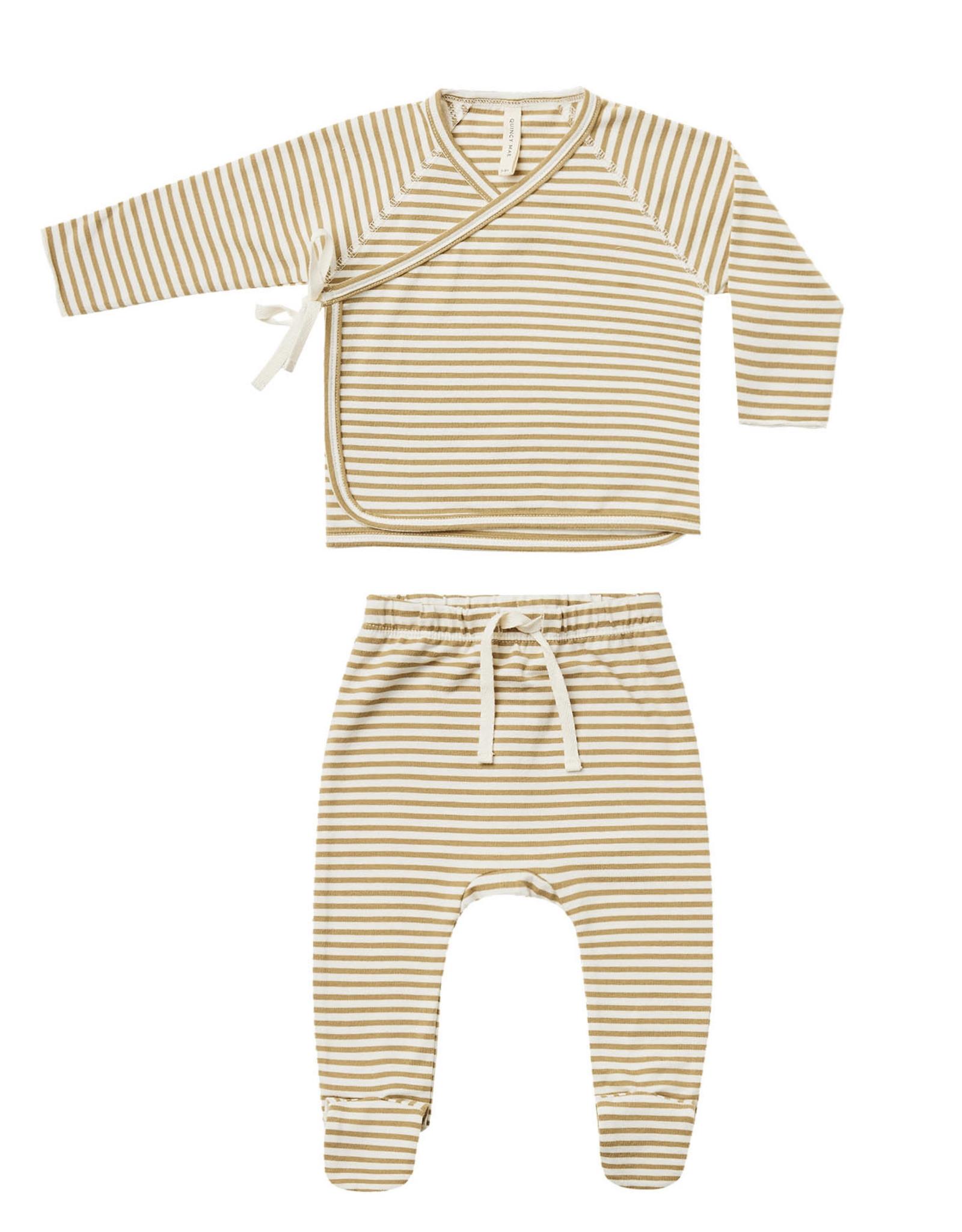 Quincy Mae Kimono Footie Set Gold Stripe 201GS