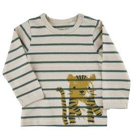 Minymo L/S Olive Stripe Top w/ Tiger