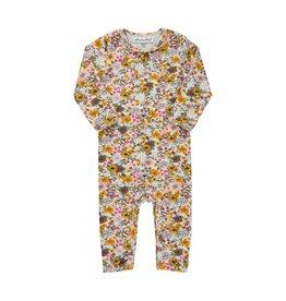 Minymo Yellow Pink floral Long  Bodysuit