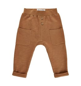 Minymo Rust knit pant drawstring with buttons