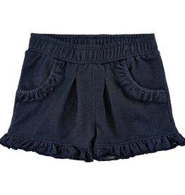 Minymo Knit Denim short with ruffle hem