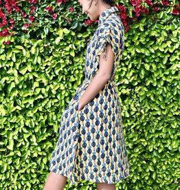 Lichfield Dress Yellow Palm Print dress button front