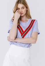 Westminister ltblue Tee with V ribbon trim