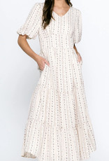 Brighton Beige Mini Print Dress tiered Skirt