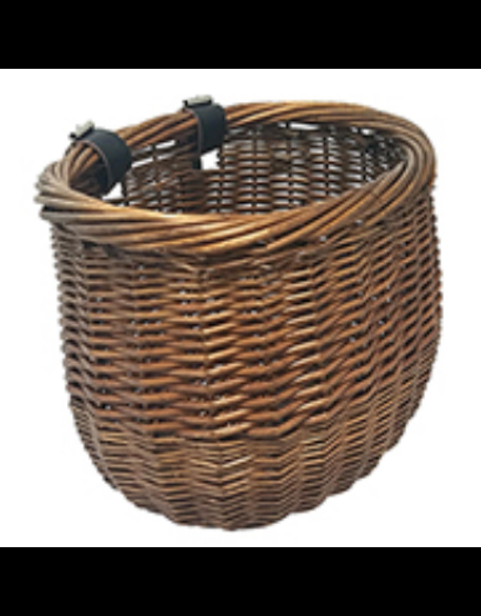 SUNLITE Front Willow Bushel Basket: Strap on: Honey