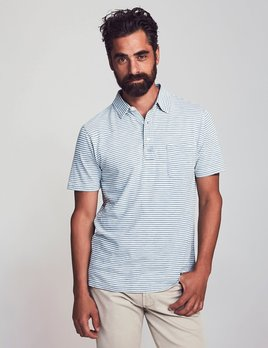 Faherty Faherty SS Indigo Polo - Salt Wash Stripe