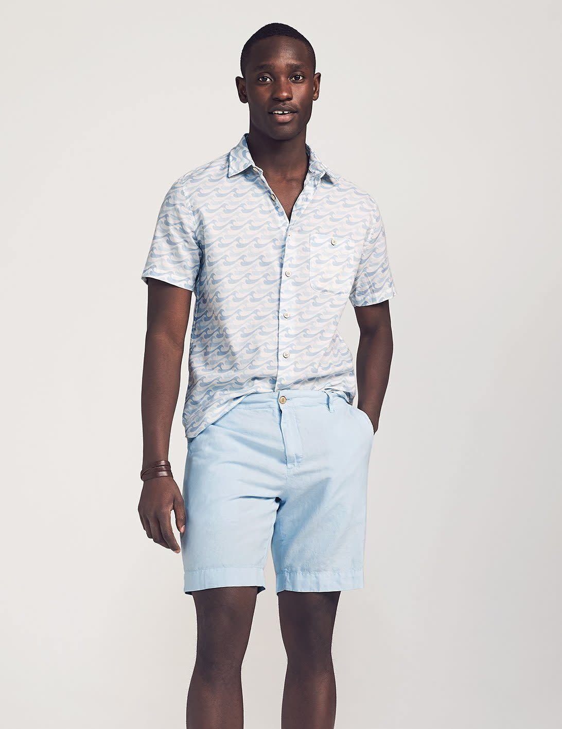 Faherty Faherty Malibu Cotton/Linen Short - Light Blue