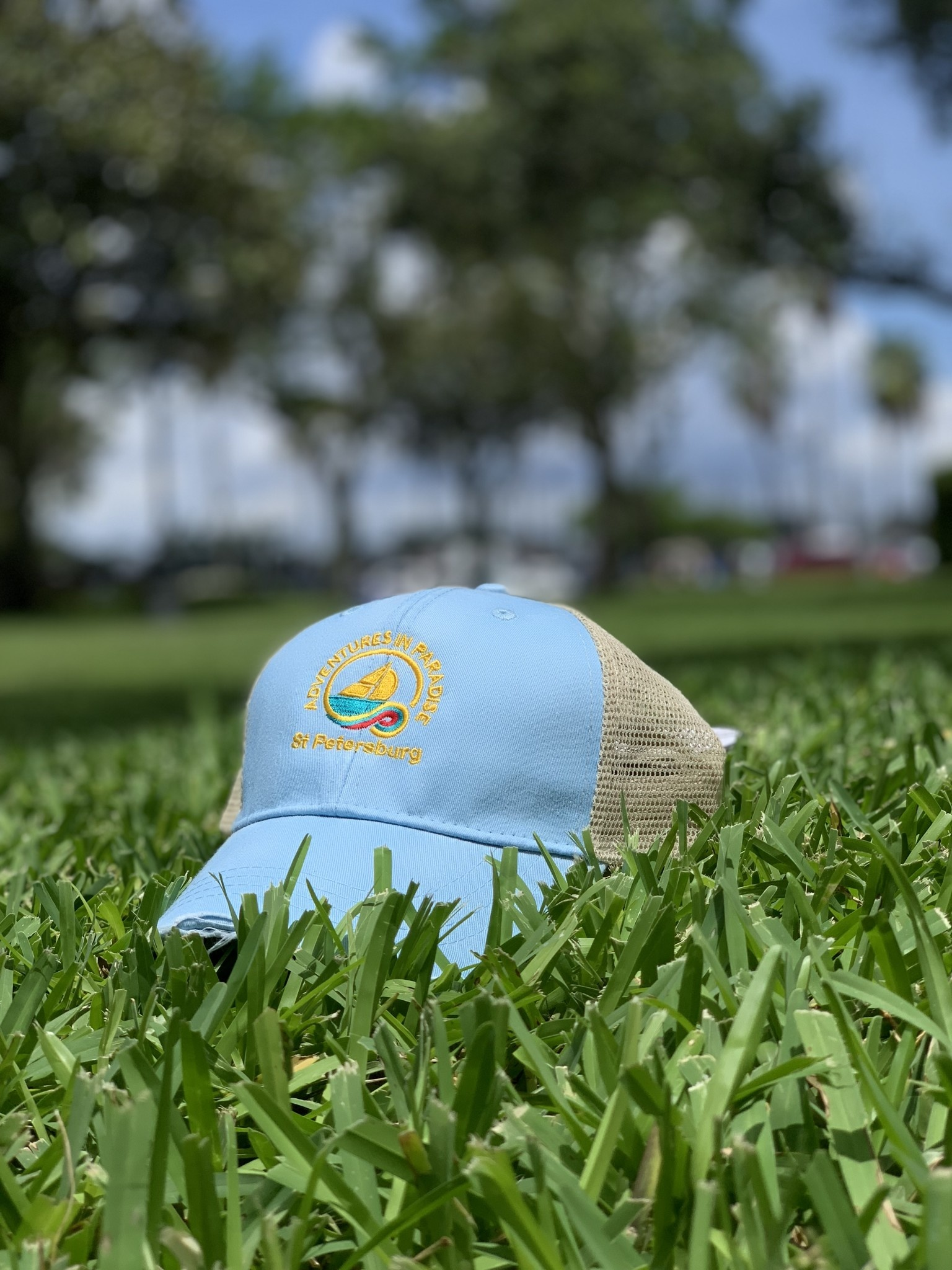 WHISPERING PINES Saint Petersburg Trucker Hat - Sky Blue