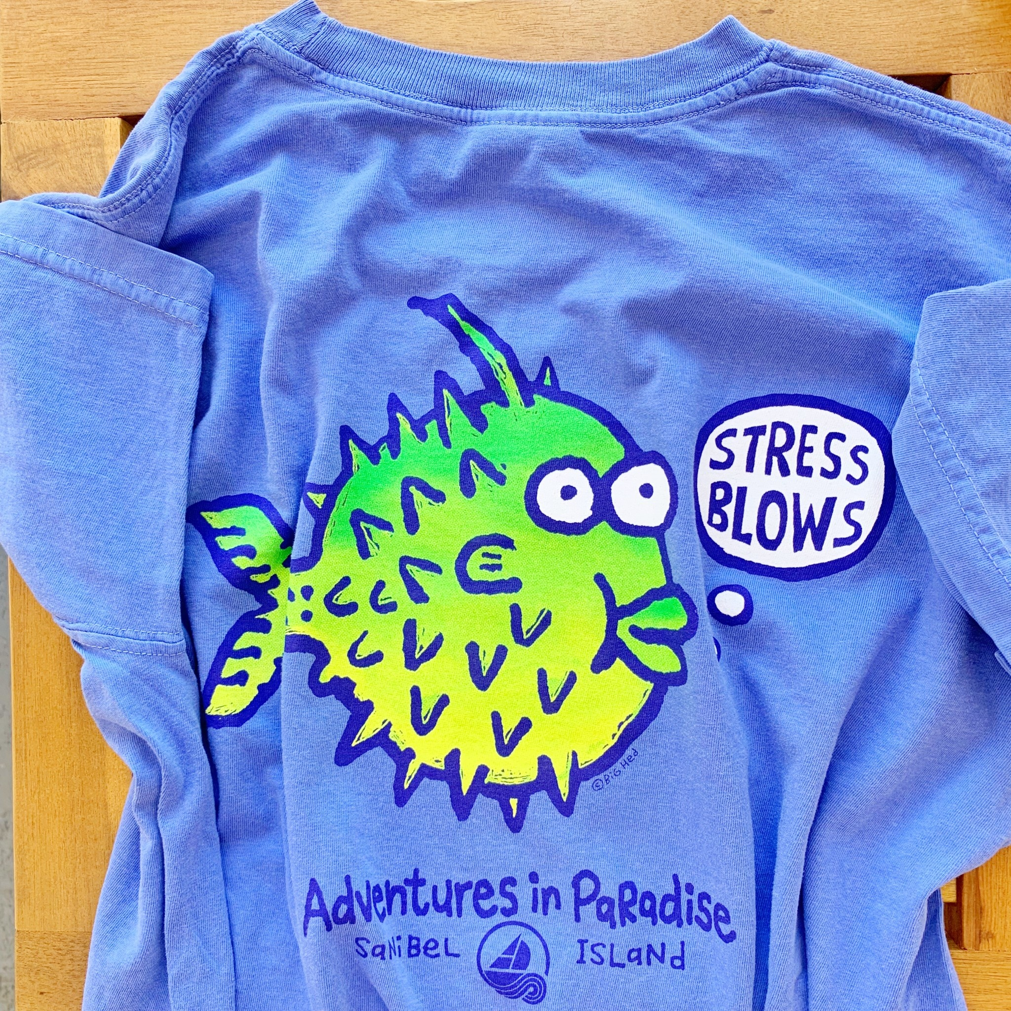 BIG HED DESIGNS Sanibel Island Tshirt Stress Blows - Blue