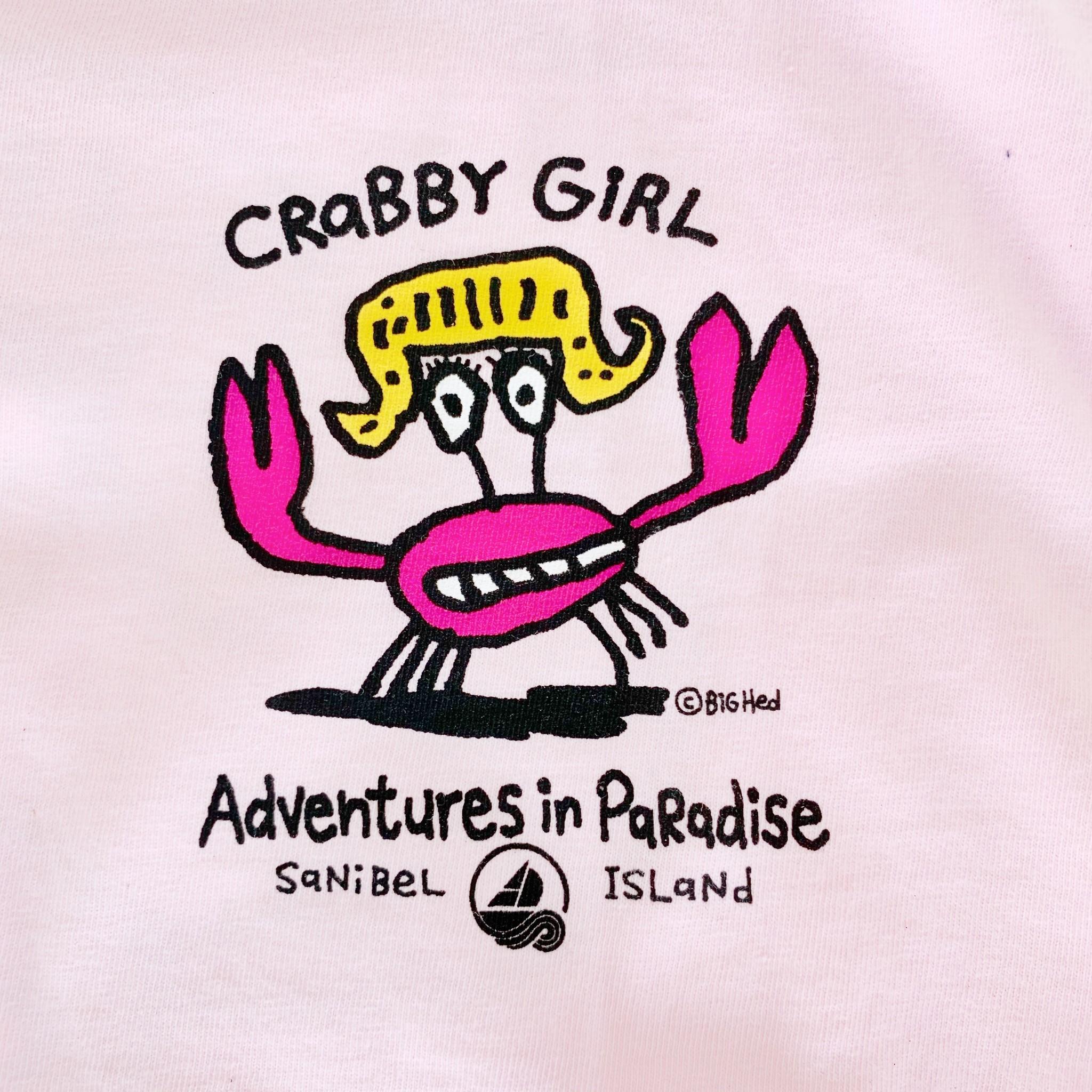 BIG HED DESIGNS Sanibel Kids Tshirt Crabby Girl - Blossom Pink