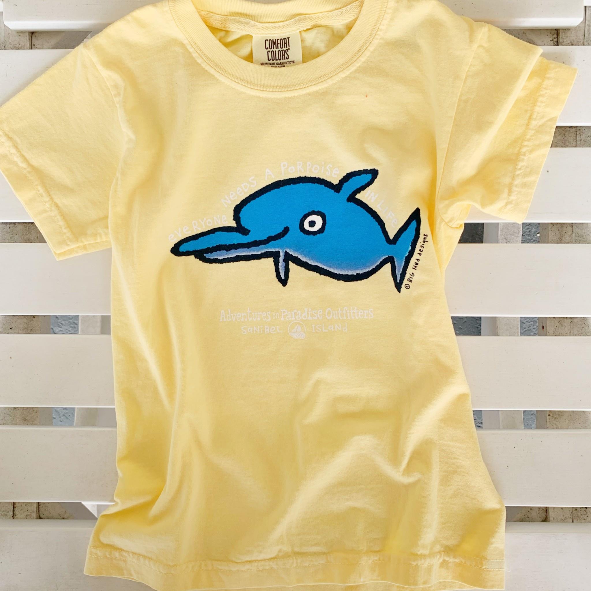 BIG HED DESIGNS Sanibel Kids Tshirt Dolphin Porpoise - Yellow