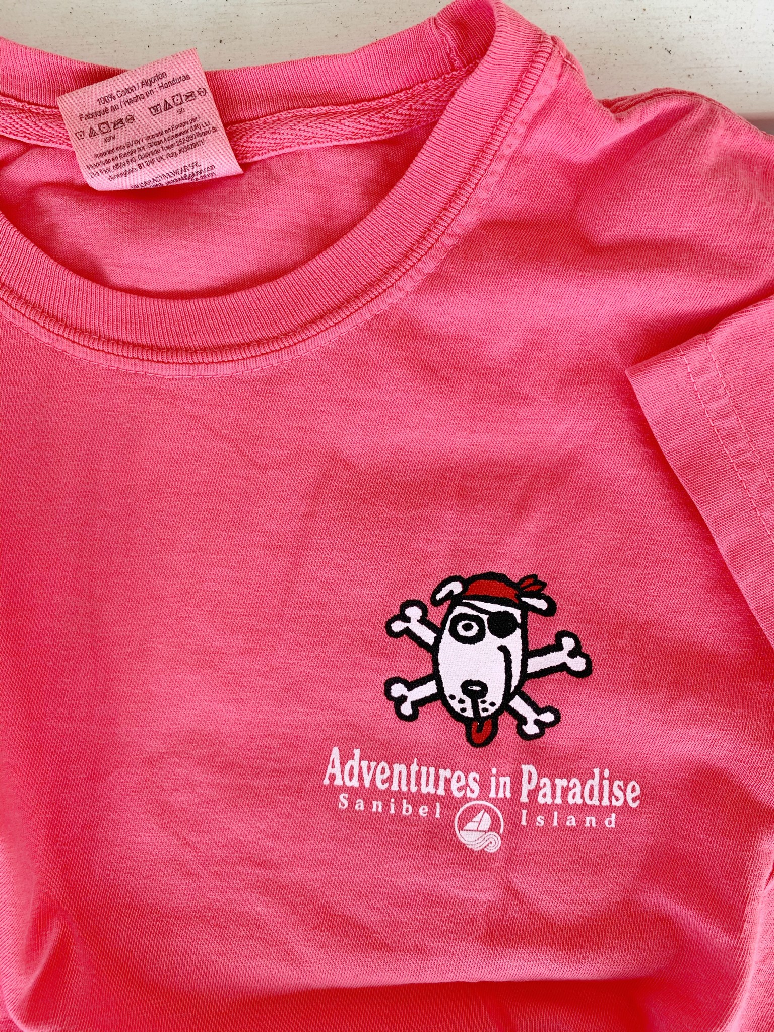 BIG HED DESIGNS Sanibel Kids Tshirt Pirate Dog - Watermelon