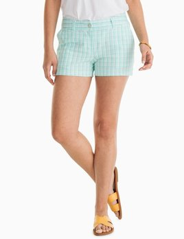Southern Tide Southern Tide Leah 3in Gingham Seersucker Short - Teal