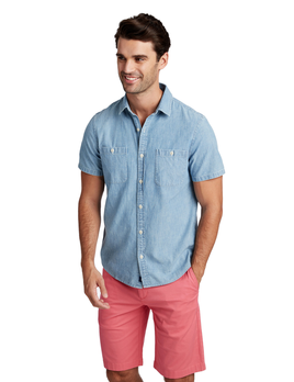 VINEYARD VINES Vineyard Vines Chambray S/S Slim Dockside Shirt
