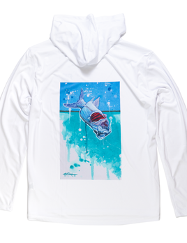 FLOOD TIDE CO Flood Tide Company Hooded Sunshirt - Tarpon Taking Flight