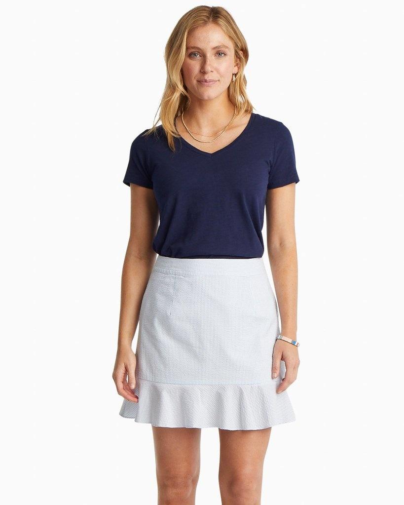 Southern Tide Southern Tide Adeline Seersucker Skirt - Blue