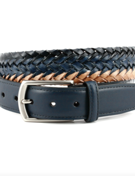 TORINO LEATHER COMPANY Torino Leather Italian Tri-Color Woven Leather Belt