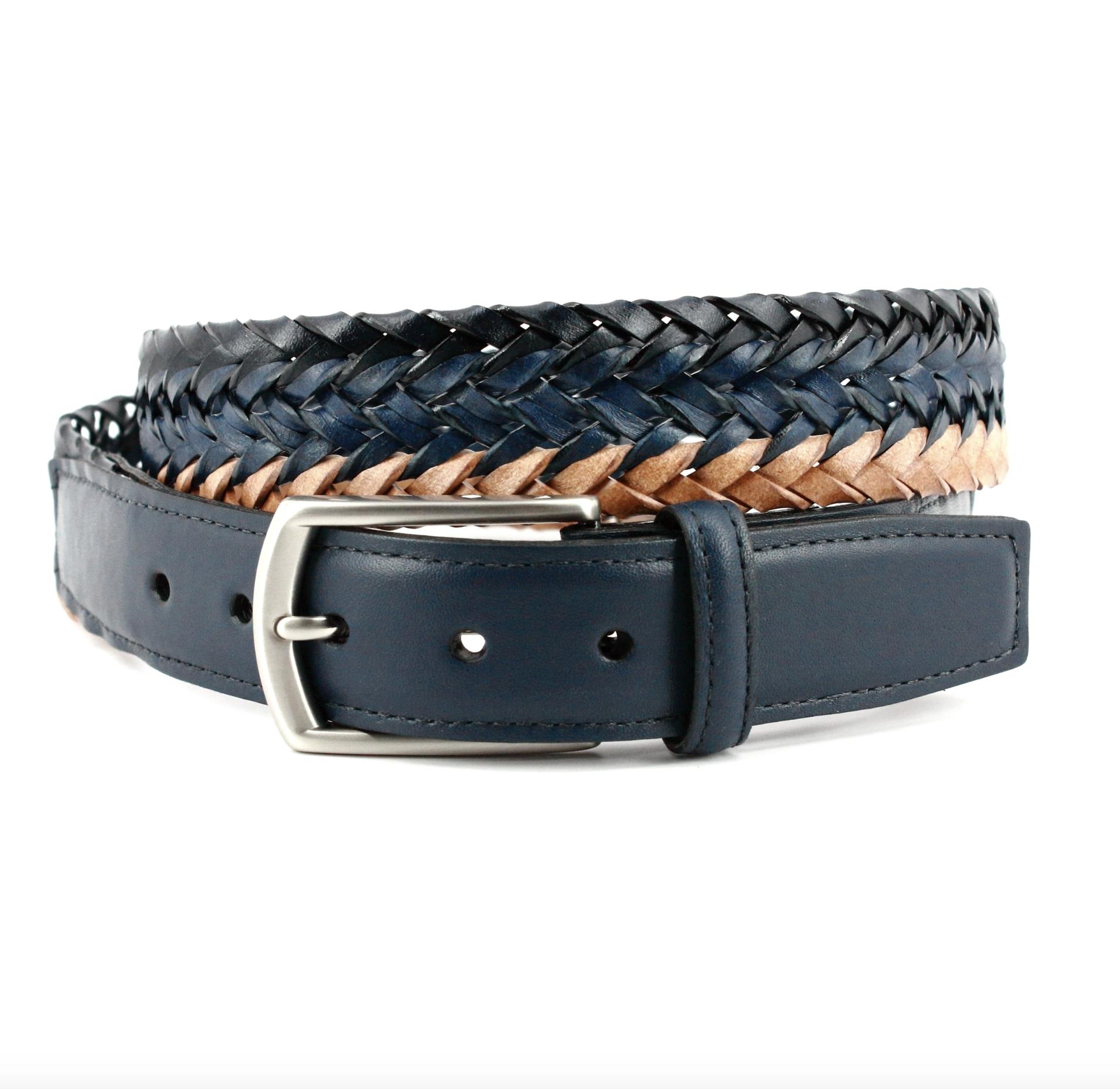 TORINO LEATHER COMPANY Italian Tri Color Woven Leather Belt