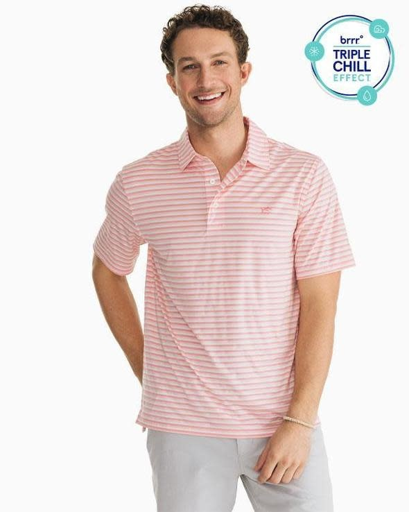 Southern Tide Southern Tide Brrr Driver Heather Stripe Perf Polo