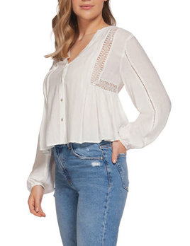 Dex Dex Long Sleeve Peasant Blouse Crochet Insert