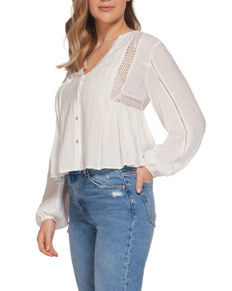 Dex Dex Long Sleeve Blouse Crochet Insert