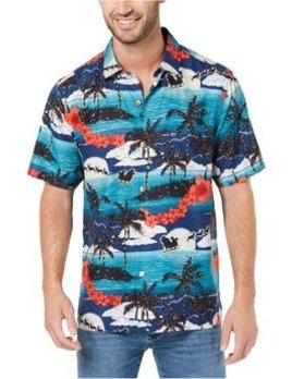 TOMMY BAHAMA Tommy Bahama Christmas Silk Shirt - Moonlight in Paradise