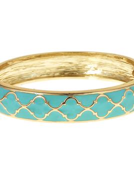 FORNASH Fornash Hinged Tropical Bracelet - Lattice Gold Aqua
