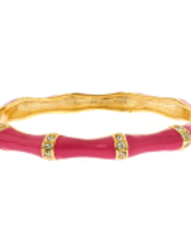 FORNASH Fornash Hinged Tropical Bracelet - Stone Bamboo Pink