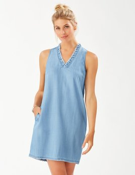 TOMMY BAHAMA Tommy Bahama Chambray Ruffle Shift Dress