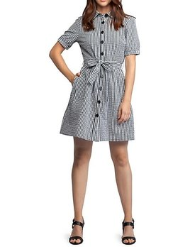 Dex Check Seersucker Button Up Dress